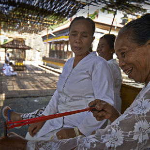 priestesses using slingshots to keep the monkys on a distance, north Bali