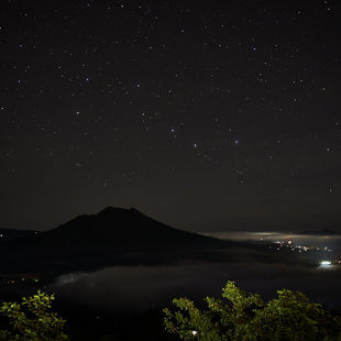 Nigth at the caldera of Batur, Bali