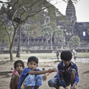 Playing in the yard of Angkor Wat
