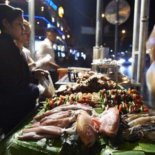 Fish restaurabt on Pub Street, Siam Reap